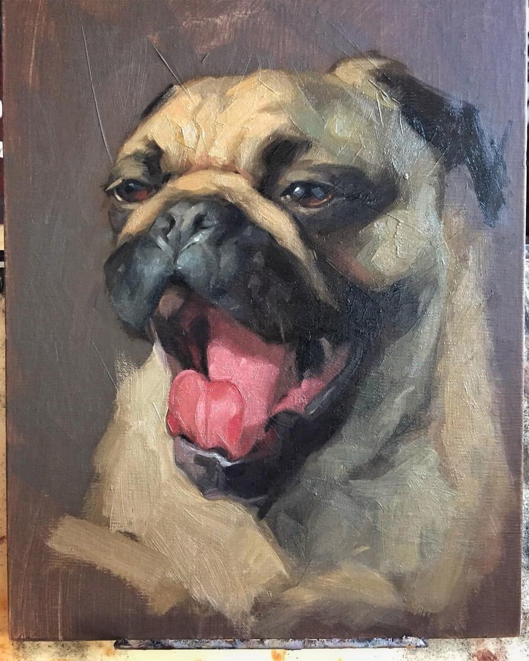 Pug portrait by by Jennifer Gennari