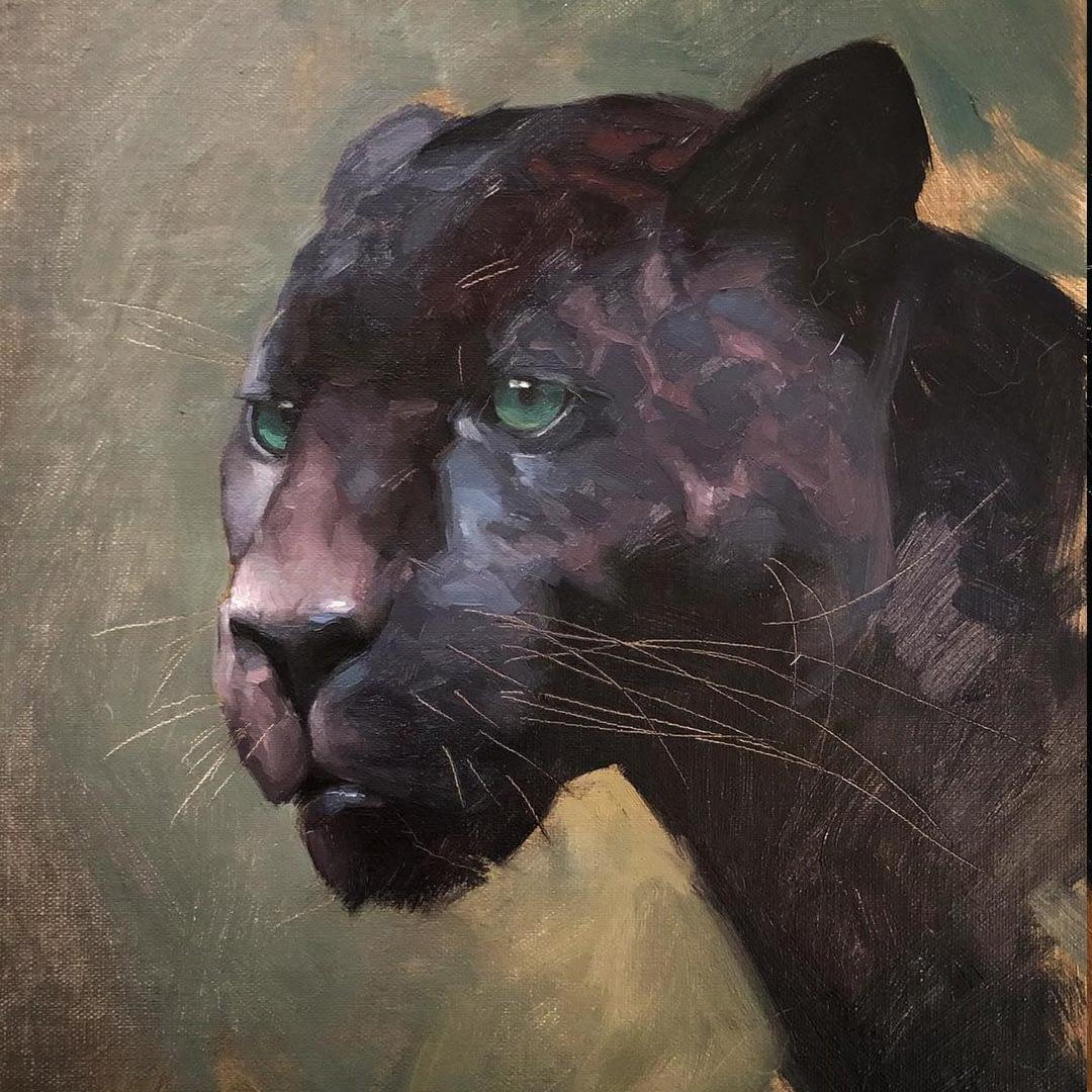Black panther painting by Jennifer Gennari