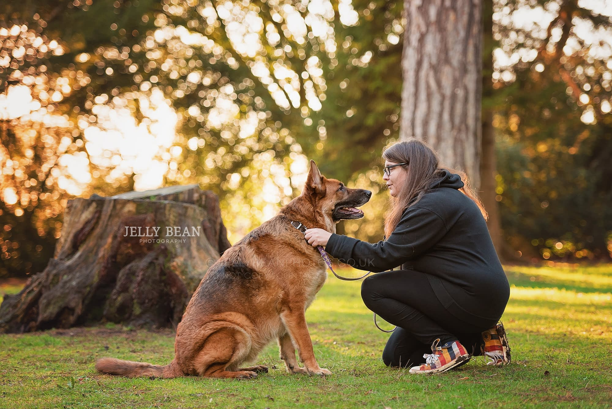 German shepherd and his owner sitting together