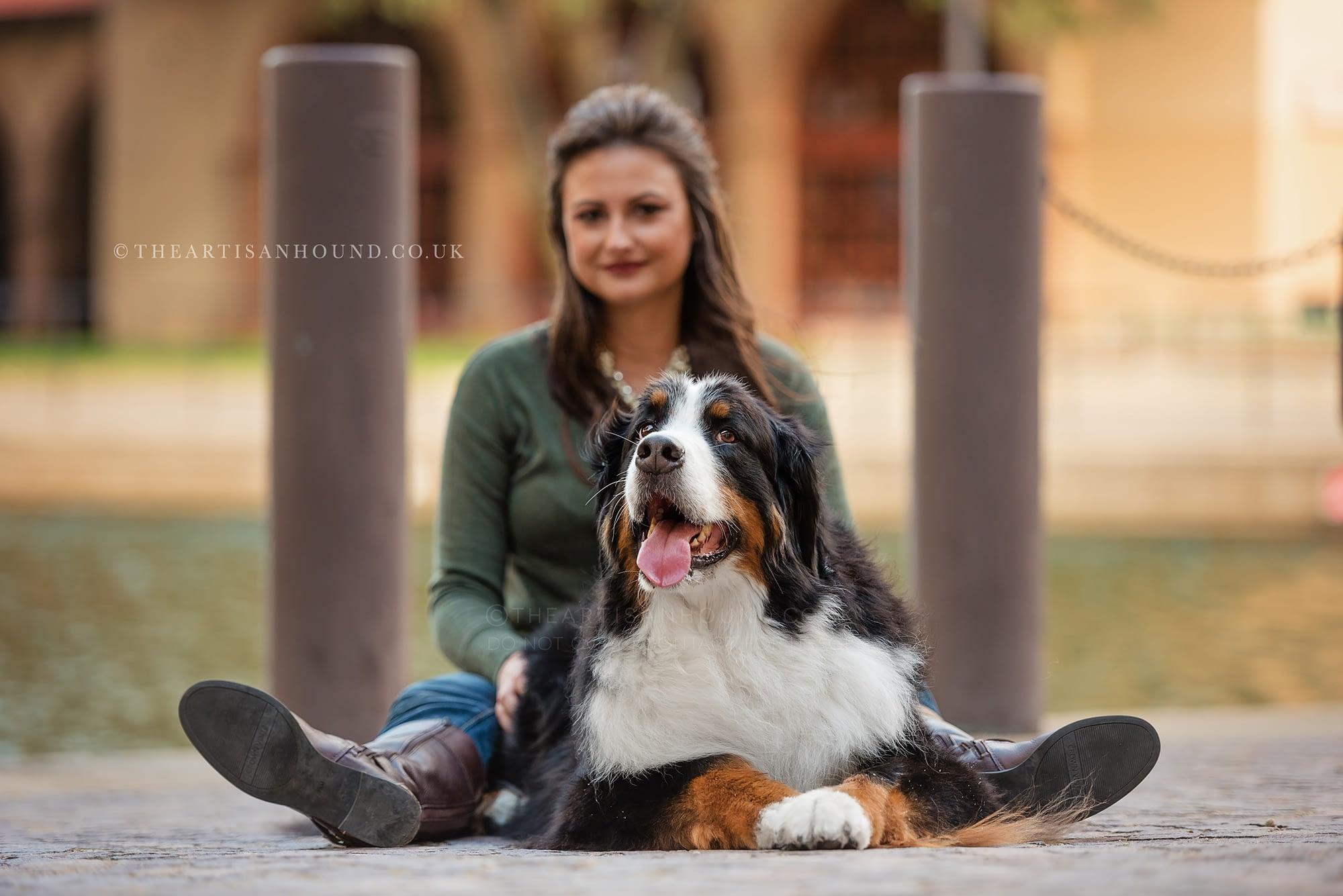 Dog sitting on floor between owners legs