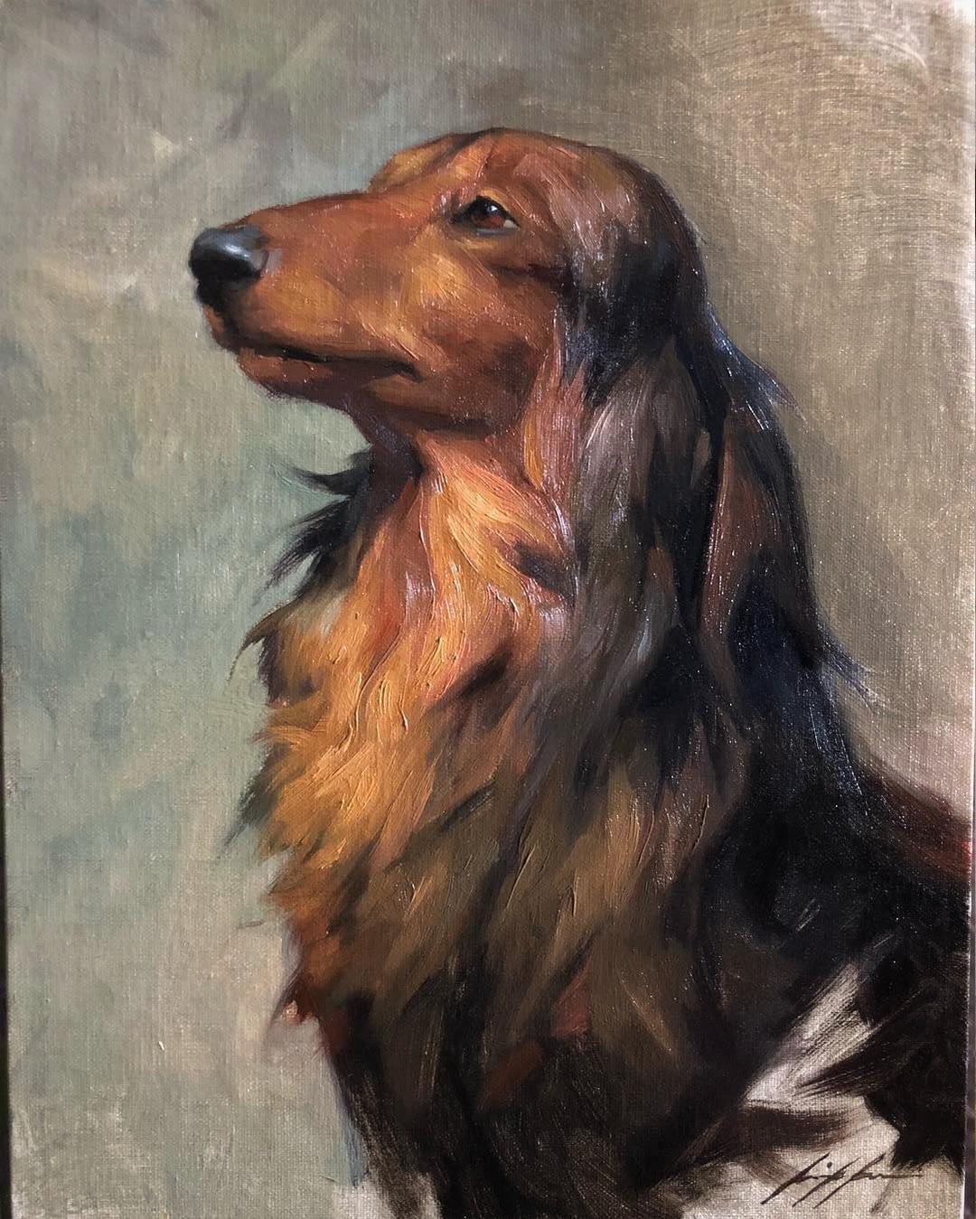 Dachshund oil painting by Jennifer Gennari
