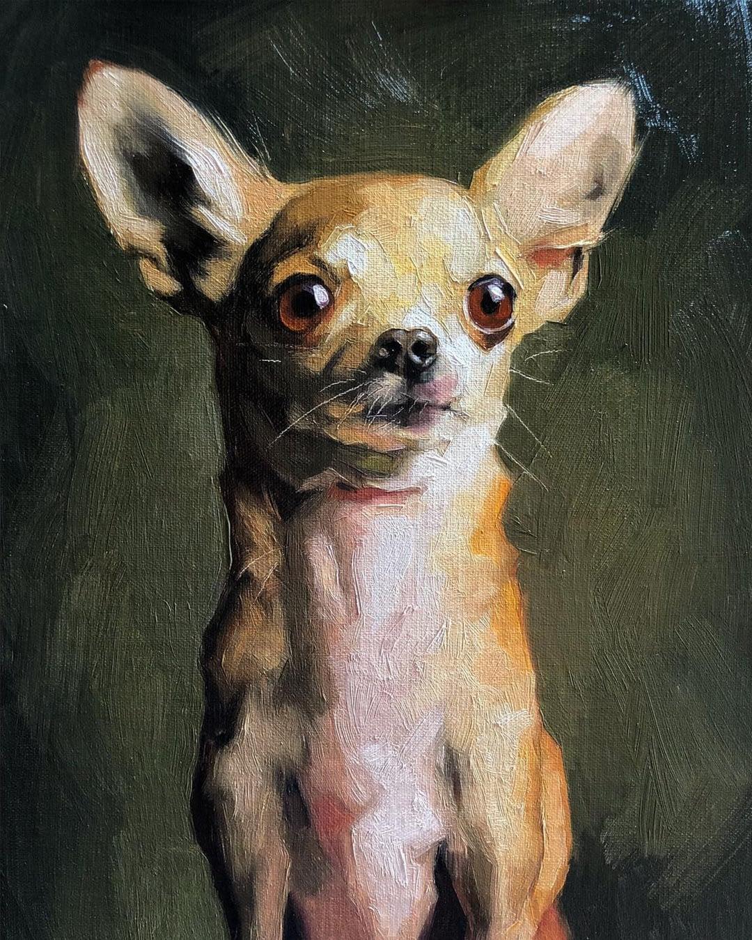 Chihuahua oil painting by artist Jennifer Gennari