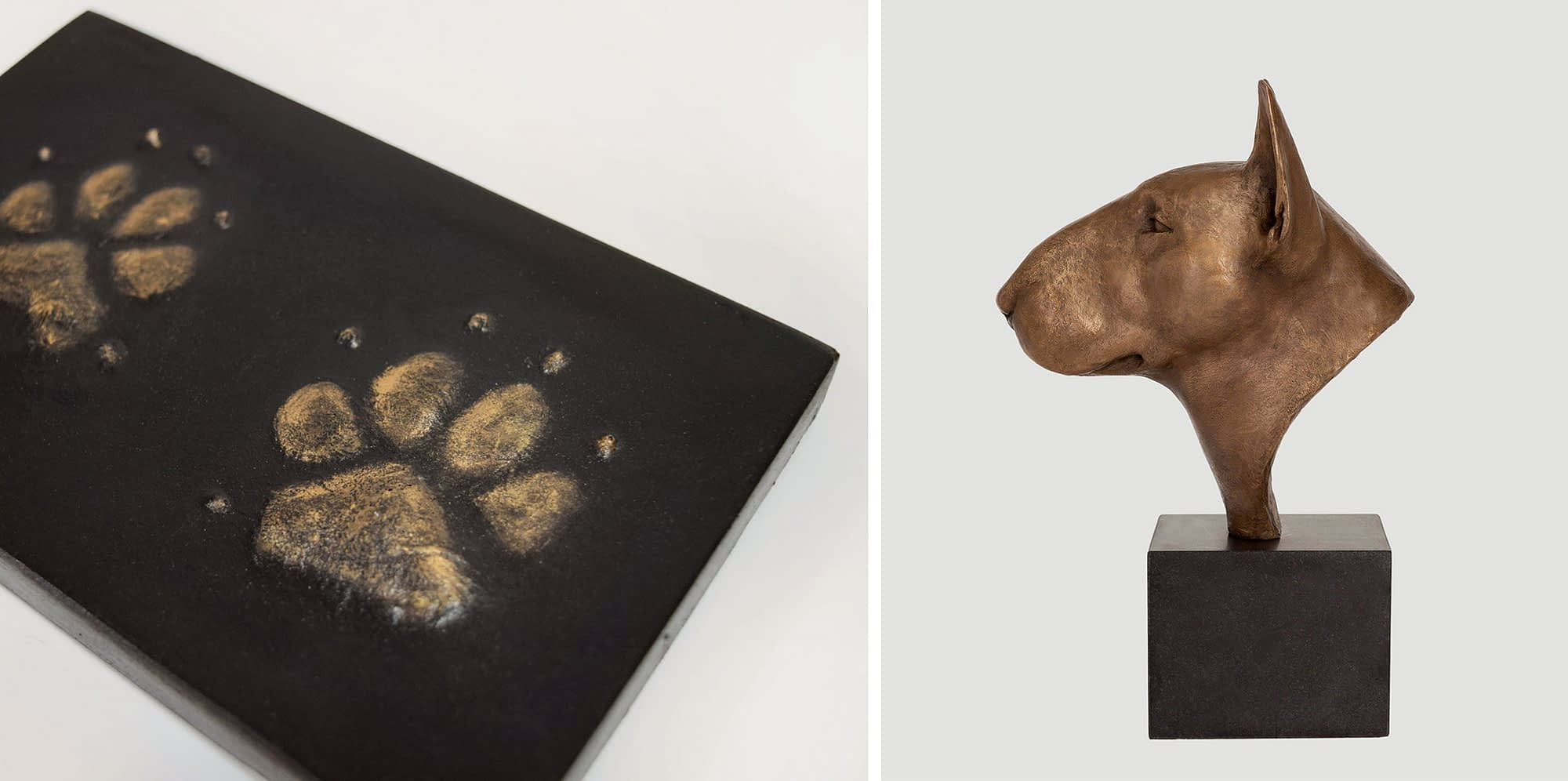 Bull Terrier sculpture and bronze resin paw prints