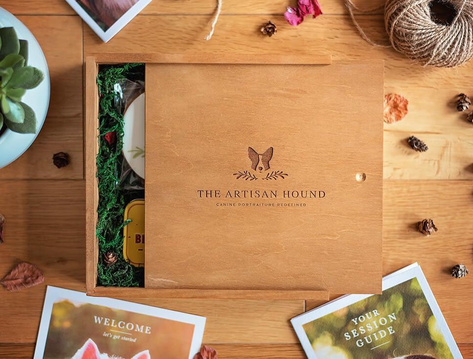 The Artisan Hound dog photography welcome box