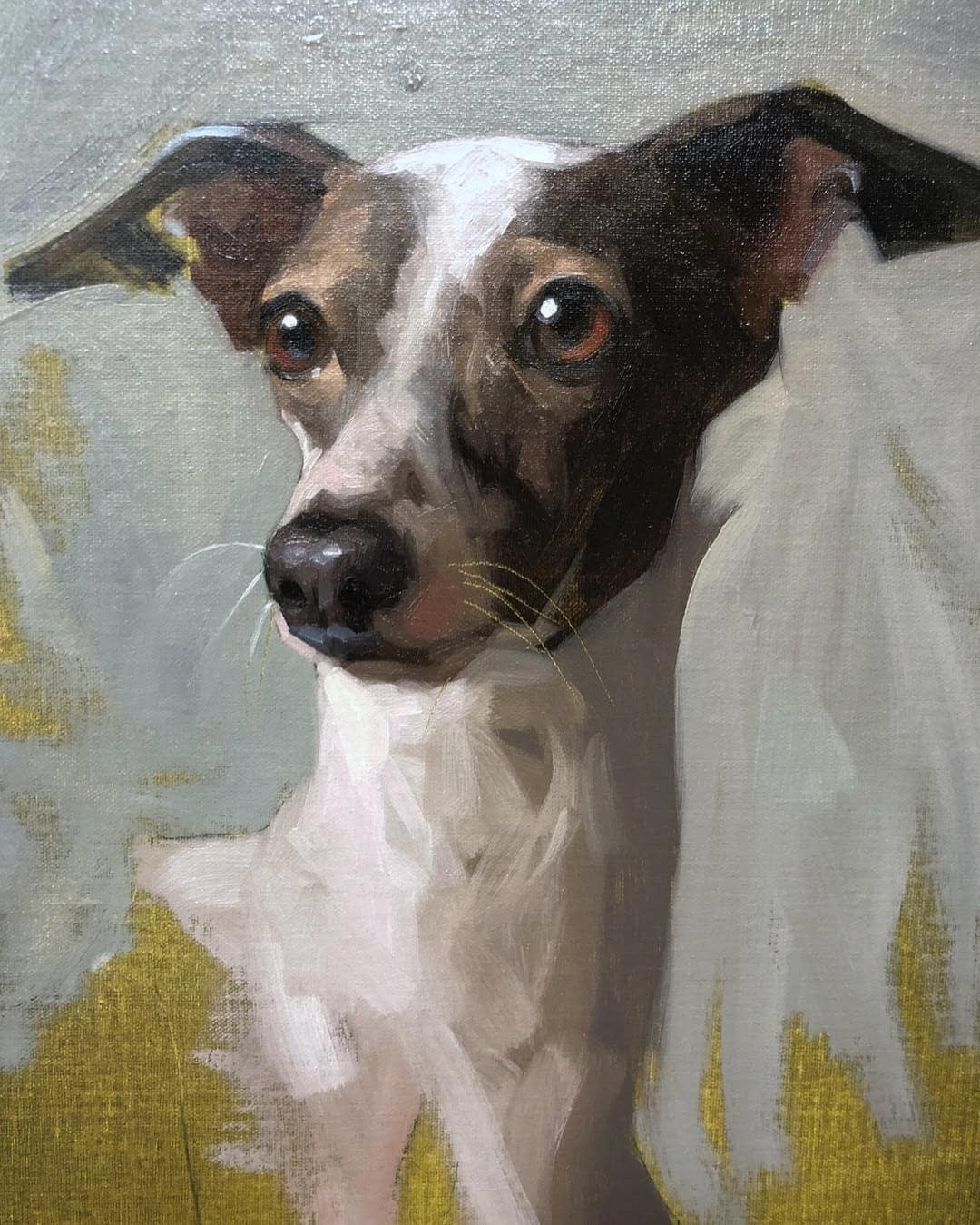 Whippet oil painting by Jennifer Gennari