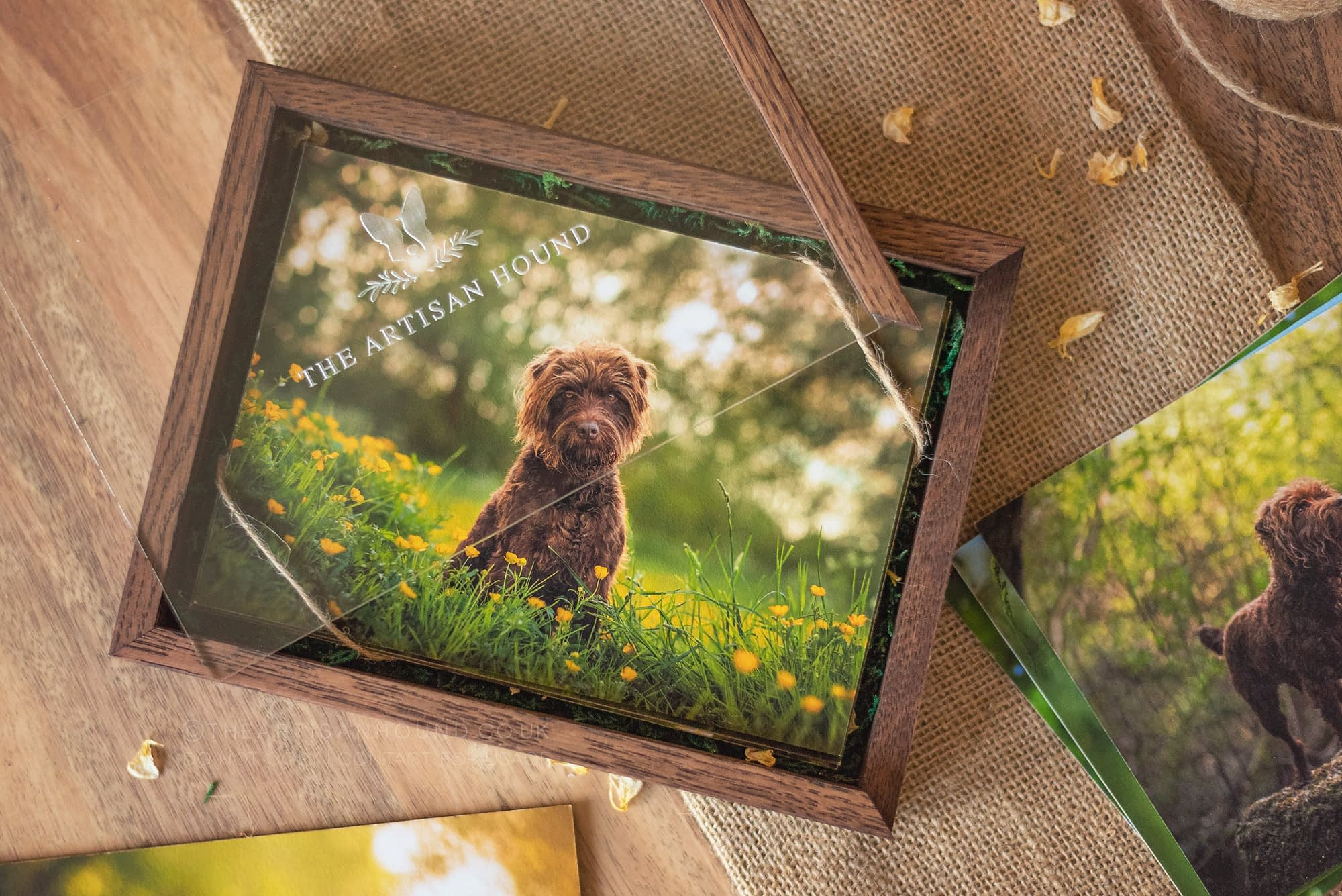 wooden photo box with clear lid
