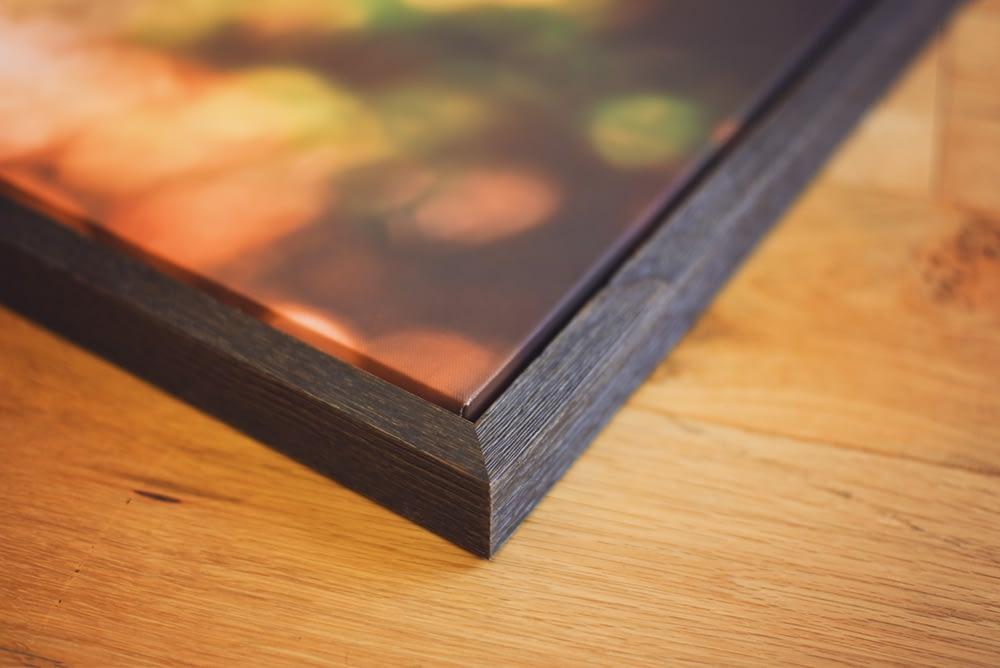 Framed canvas corner detail