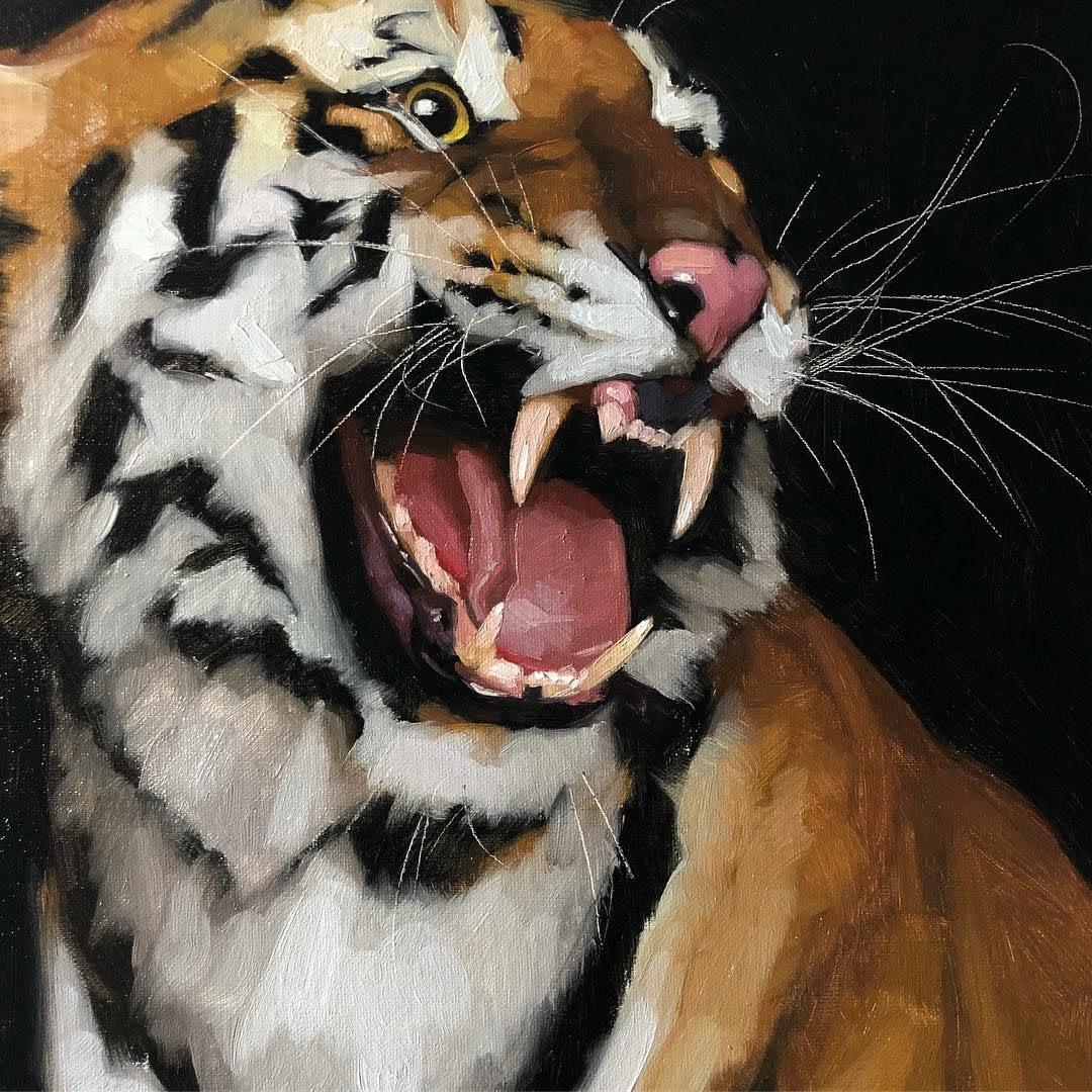 Tiger oil painting by Jennifer Gennari