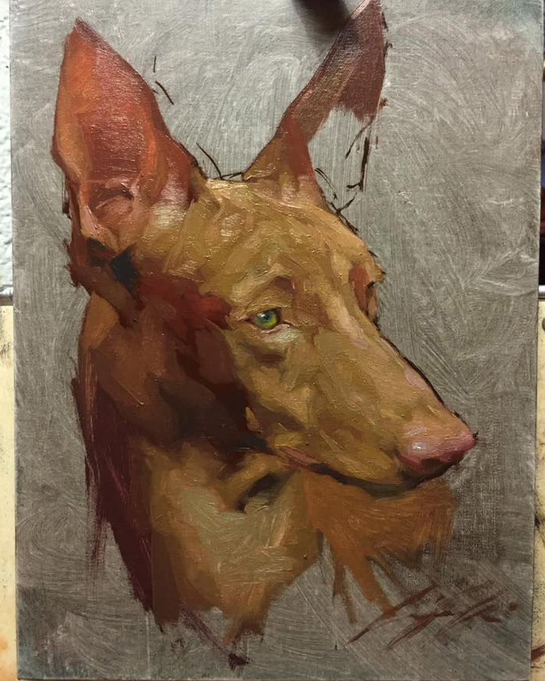 Dog portrait painting by Jennifer Gennari