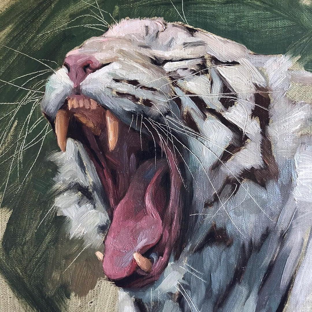 White tiger painting by Jennifer Gennari