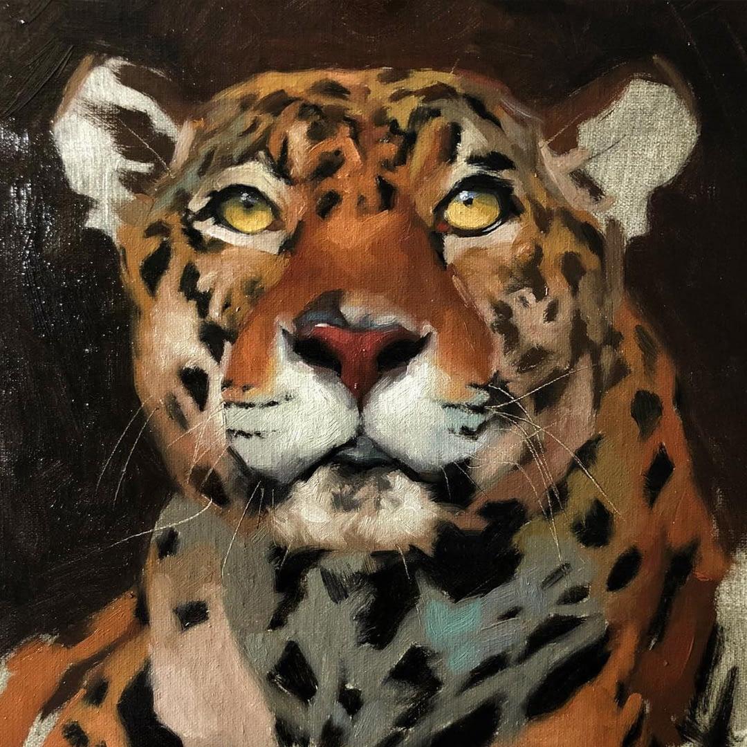 Leopard oil painting by Jennifer Gennari